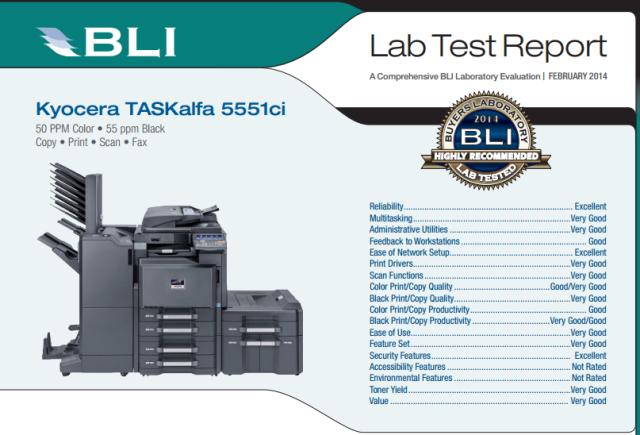 KYOCERA's TASKalfa 5551ci wins BLI 'Winter Pick 2014' |